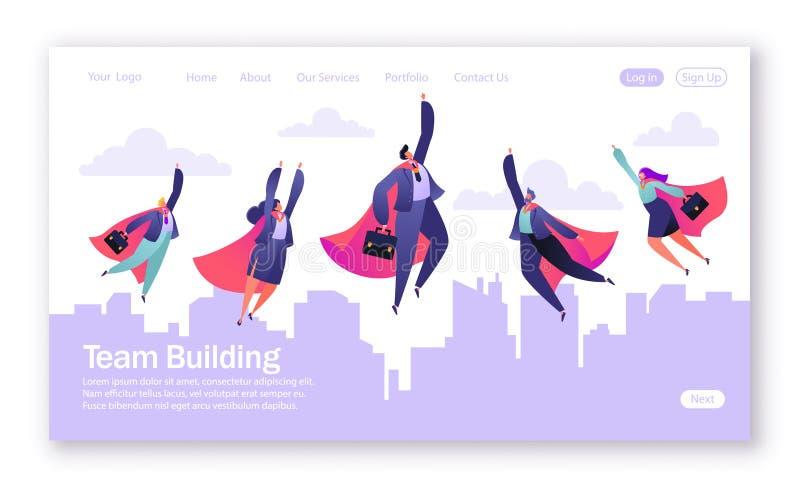 Conceito da página de aterrissagem no tema dos trabalhos de equipe Ilustração do vetor para o desenvolvimento do Web site e o pro ilustração do vetor