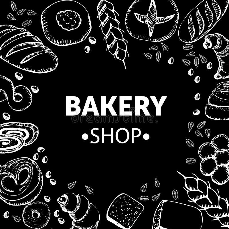 Conceito da padaria com pão do esboço e trigo tirado mão na ilustração preta do fundo ilustração stock