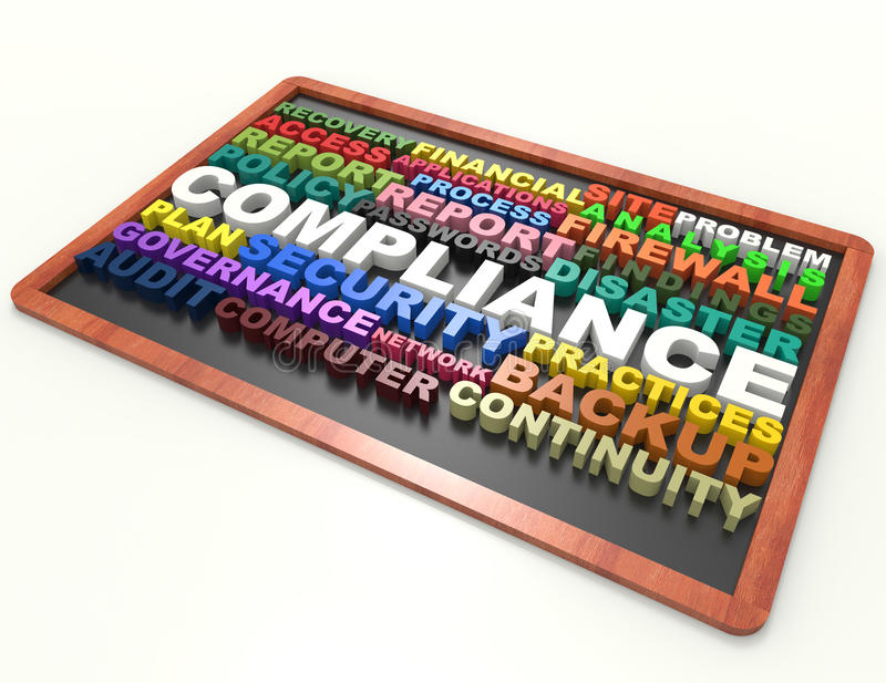 Conceito da palavra da conformidade 3d no quadro-negro ilustração stock