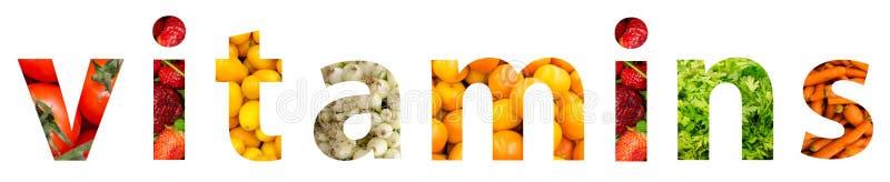 Conceito da palavra das vitaminas ilustração royalty free