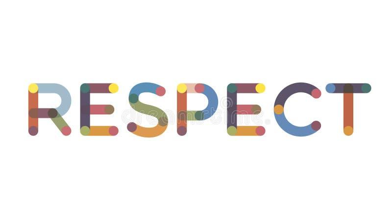 Conceito da palavra do respeito Respeito escrito no fundo branco Uso para a tampa, bandeira, blogue imagens de stock royalty free