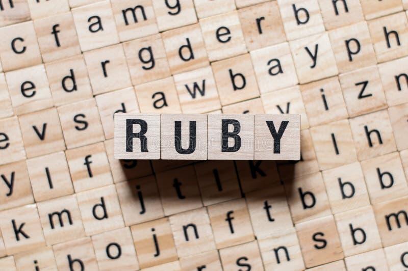 Conceito da palavra do rubi imagens de stock