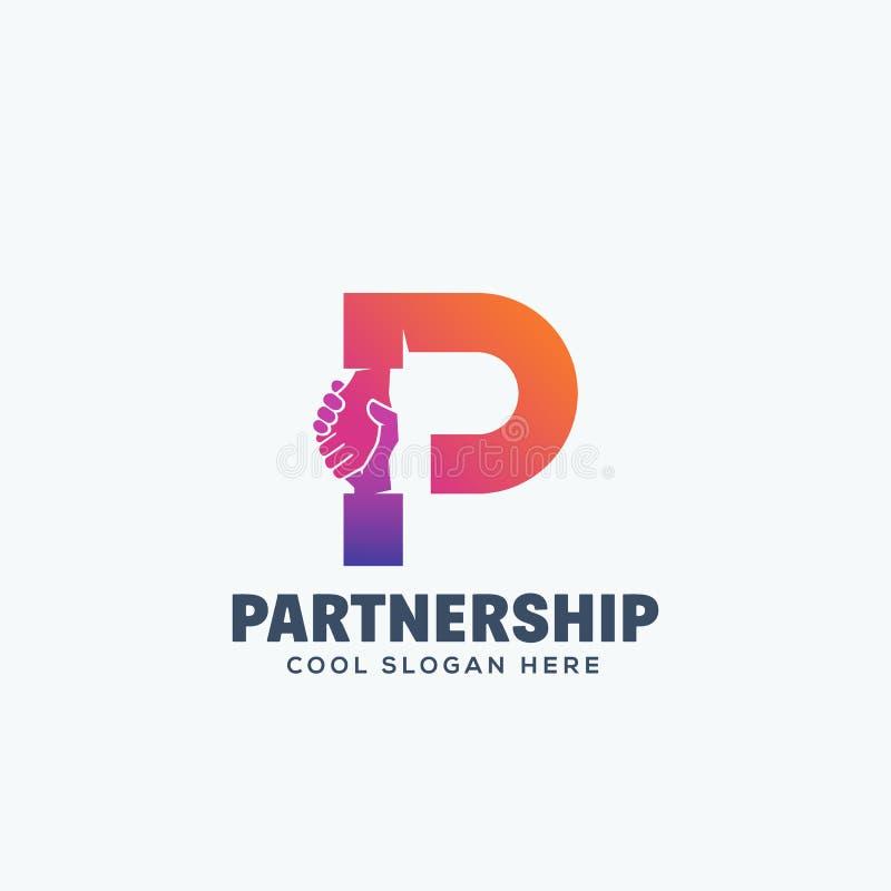 Conceito da parceria Agitação da mão incorporada na letra P Emblema ou Logo Template abstrato do vetor ilustração stock