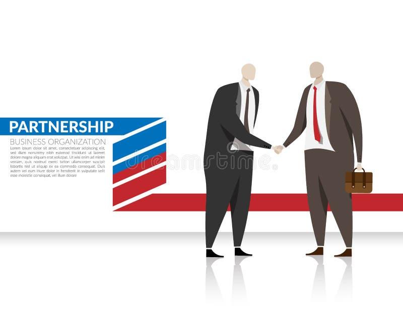 Conceito da parceria do negócio do corporaçõ dois homens de negócios agitam a mão para fazem um acordo para a parceria na organiz ilustração stock