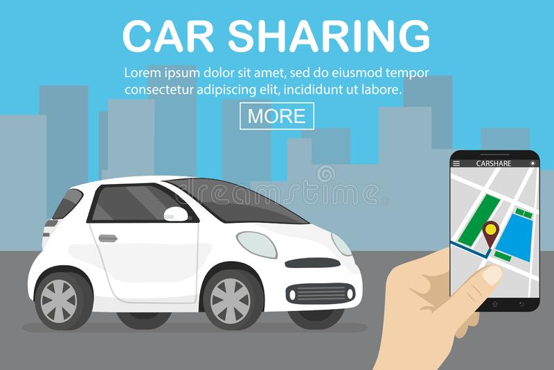 Conceito da partilha de carro, carro branco e mão guardando o smartphone com c ilustração stock