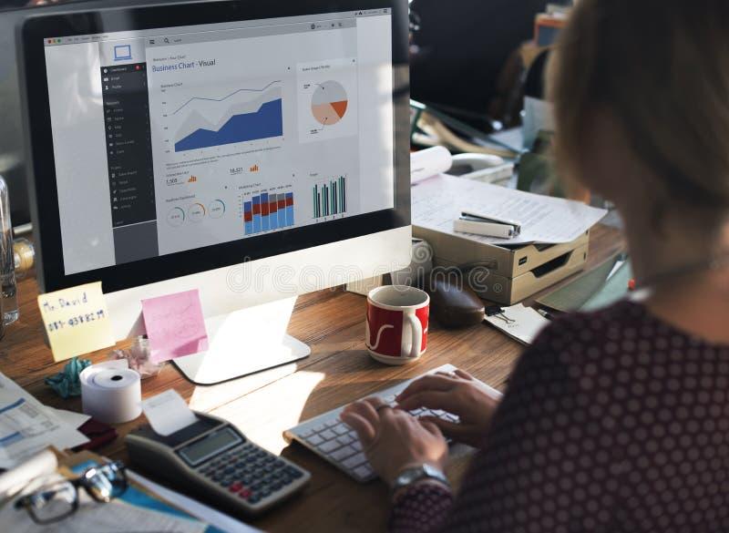 Conceito da pesquisa de Working Dashboard Strategy da mulher de negócios fotografia de stock