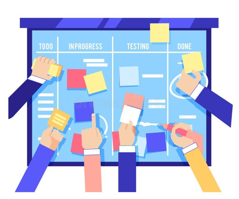 Conceito da placa do scrum com as mãos humanas que colam papéis coloridos e tarefas de escrita na placa azul ilustração stock