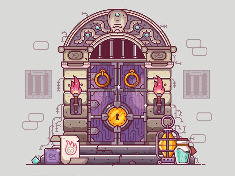 Conceito da porta do Dungeon do RPG ilustração royalty free