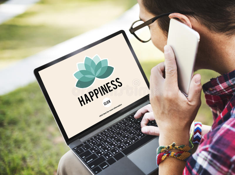 Conceito da positividade do abrandamento da recreação da apreciação da felicidade fotos de stock royalty free