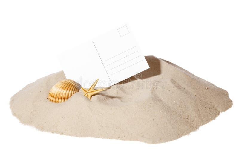 Conceito da praia com cartão fotografia de stock