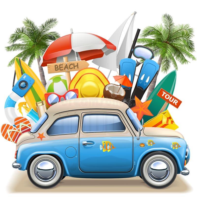 Conceito da praia do vetor com carro azul ilustração royalty free