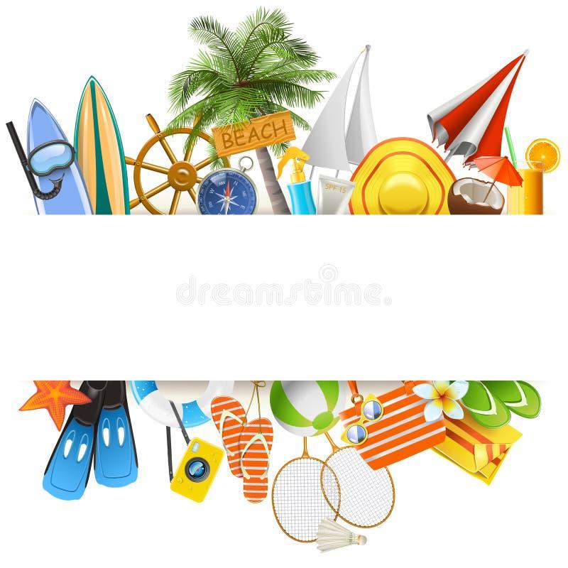 Conceito da praia do vetor com fita branca ilustração stock