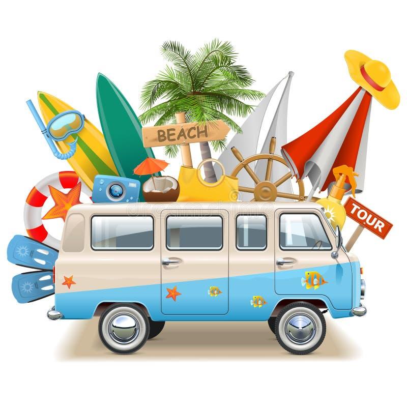 Conceito da praia do vetor com ônibus ilustração stock