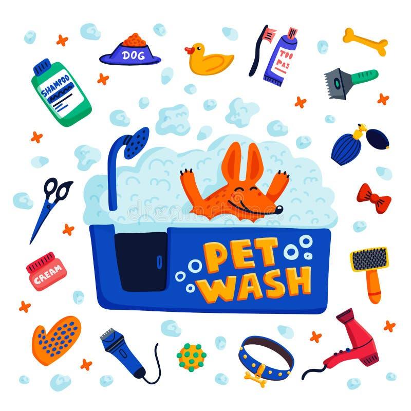 Conceito da preparação do animal de estimação Cão feliz em um banho com espuma e bens para banhar-se no fundo branco Cuidado do c ilustração royalty free