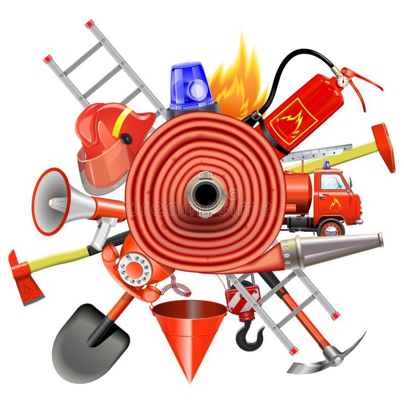 Conceito da prevenção de incêndios do vetor com Firehose ilustração stock