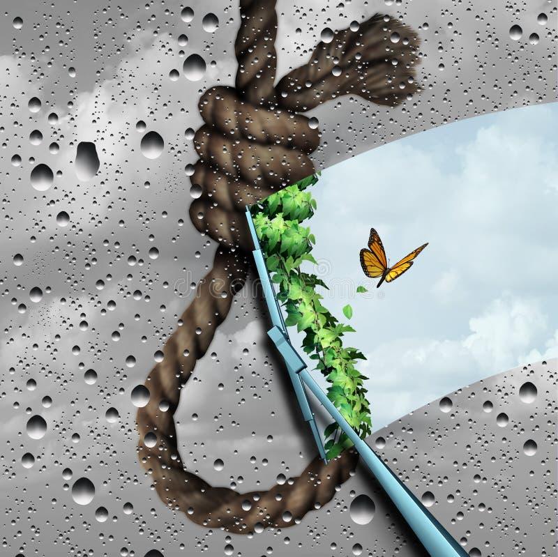Conceito da prevenção do suicídio ilustração do vetor