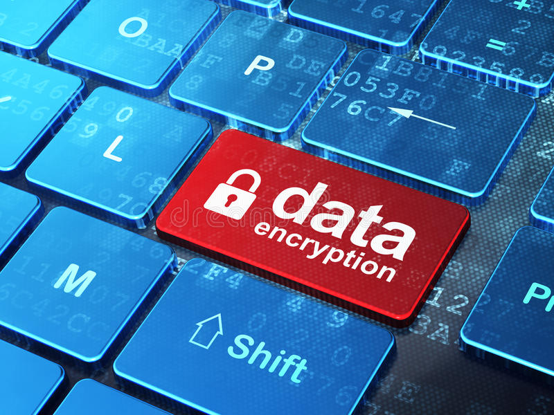 Conceito da privacidade: Criptografia fechado do cadeado e de dados no fundo do teclado de computador fotos de stock royalty free
