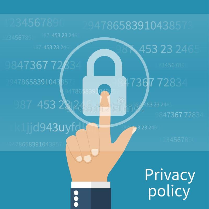 Conceito da privacidade da política ilustração do vetor