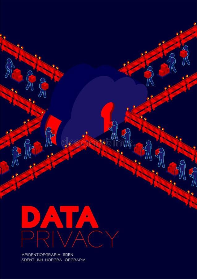 Conceito da privacidade de dados, dados de transferência do pictograma do homem à porta do buraco da fechadura do armazenamento d ilustração stock