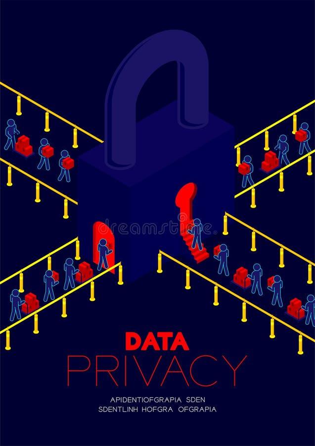 Conceito da privacidade de dados, dados de transferência do pictograma do homem à porta do buraco da fechadura do fechamento e ao ilustração stock