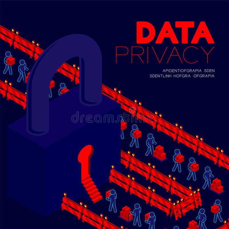 Conceito da privacidade de dados, dados de transferência do pictograma do homem ao projeto isométrico do cartaz e da bandeira da  ilustração stock