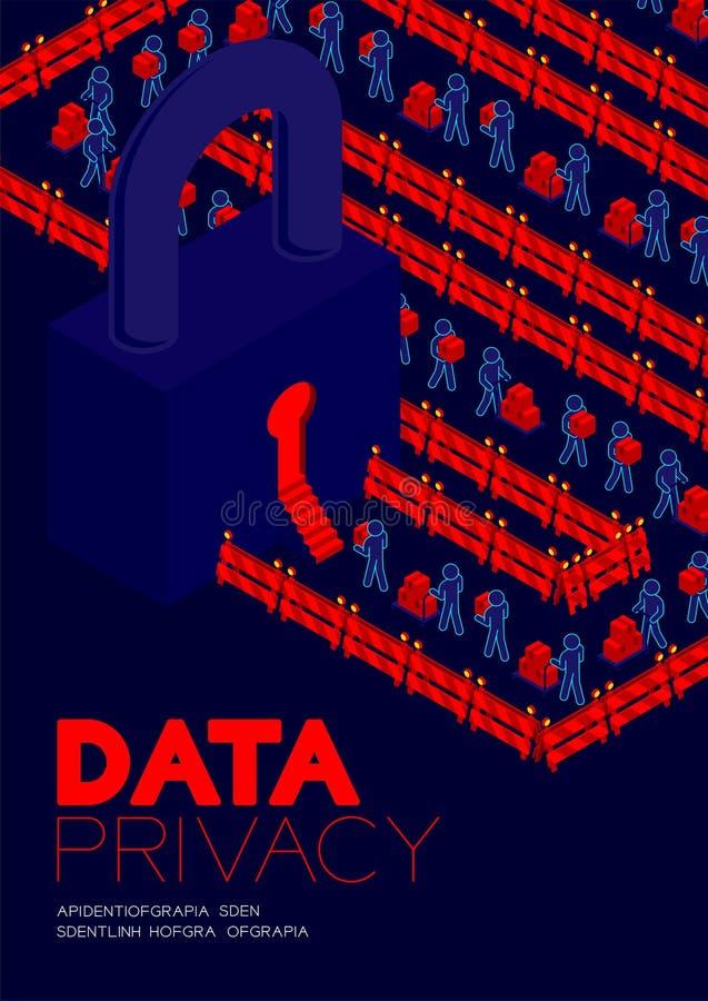 Conceito da privacidade de dados, dados de transferência do pictograma do homem ao projeto isométrico do cartaz e da bandeira da  ilustração do vetor