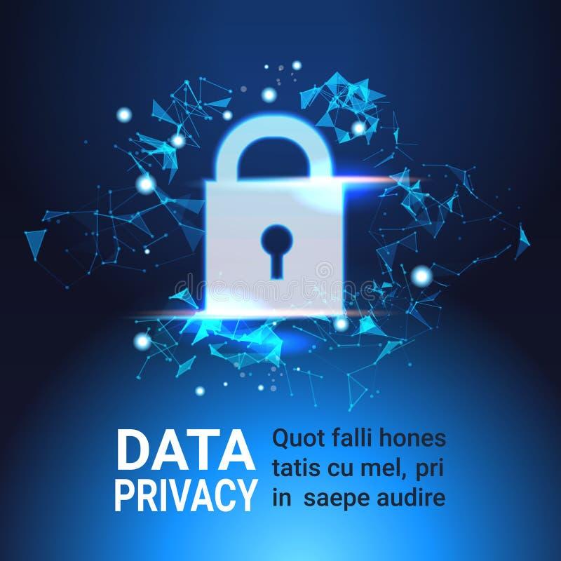 Conceito da privacidade da proteção de dados do cadeado GDPR Fundo da rede da segurança do Cyber protegendo informações pessoais ilustração royalty free