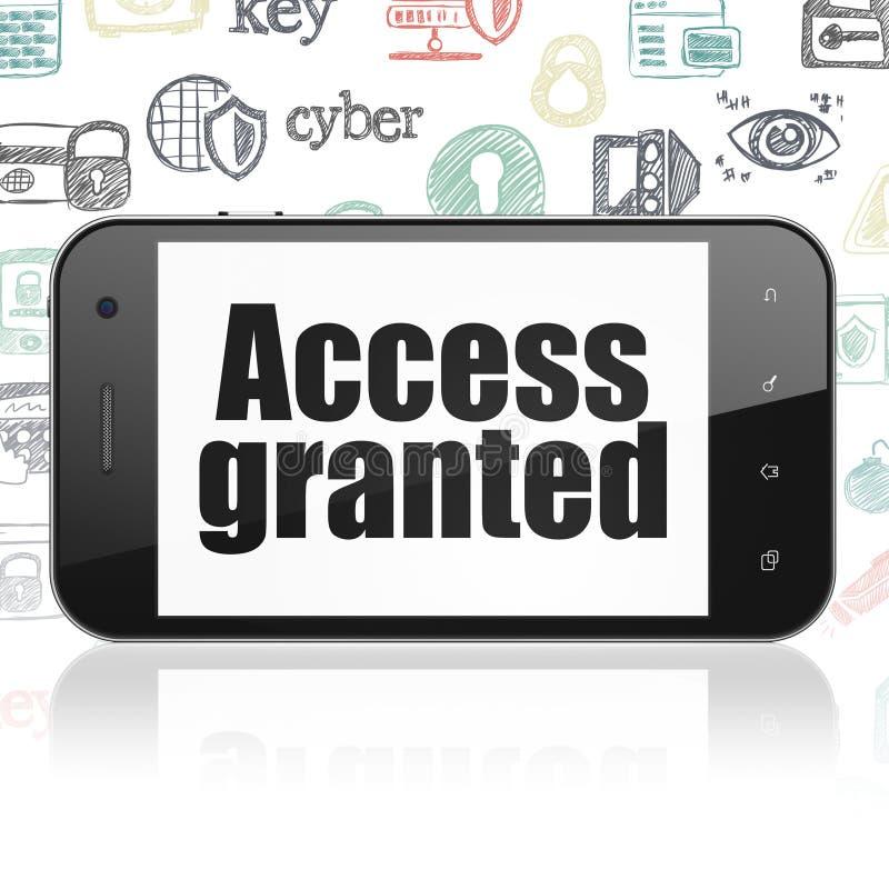 Conceito da privacidade: Smartphone com o acesso concedido na exposição ilustração stock
