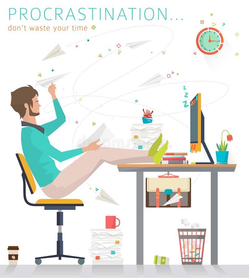 Conceito da procrastinação ilustração do vetor