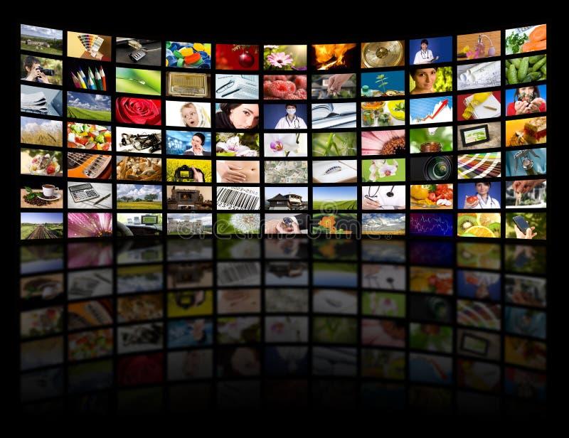 Conceito da produção da televisão. Painéis do filme da tevê