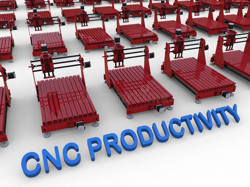 Conceito da produtividade do CNC ilustração do vetor