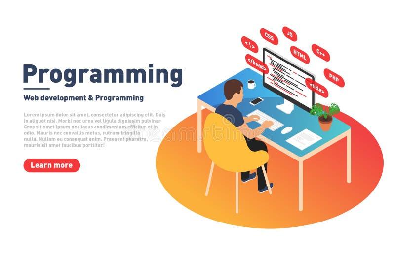 Conceito da programação e do desenvolvimento da Web O programador está trabalhando no computador Colaborador e local de trabalho  ilustração royalty free