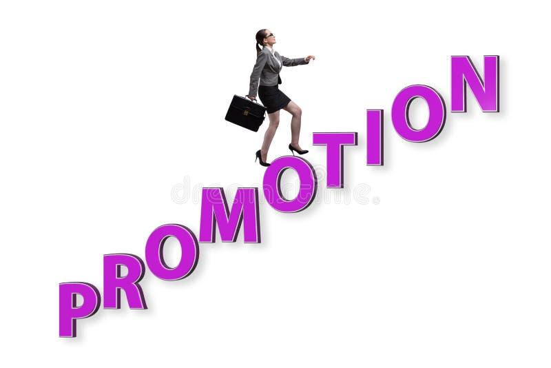 Conceito da promoção com mulher de negócios foto de stock royalty free