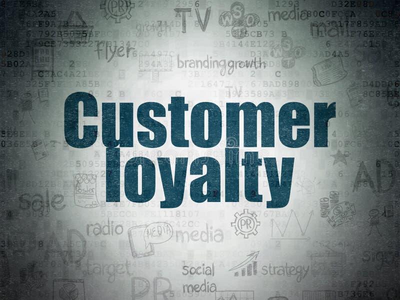 Conceito da propaganda: Lealdade do cliente no fundo do papel dos dados de Digitas imagem de stock