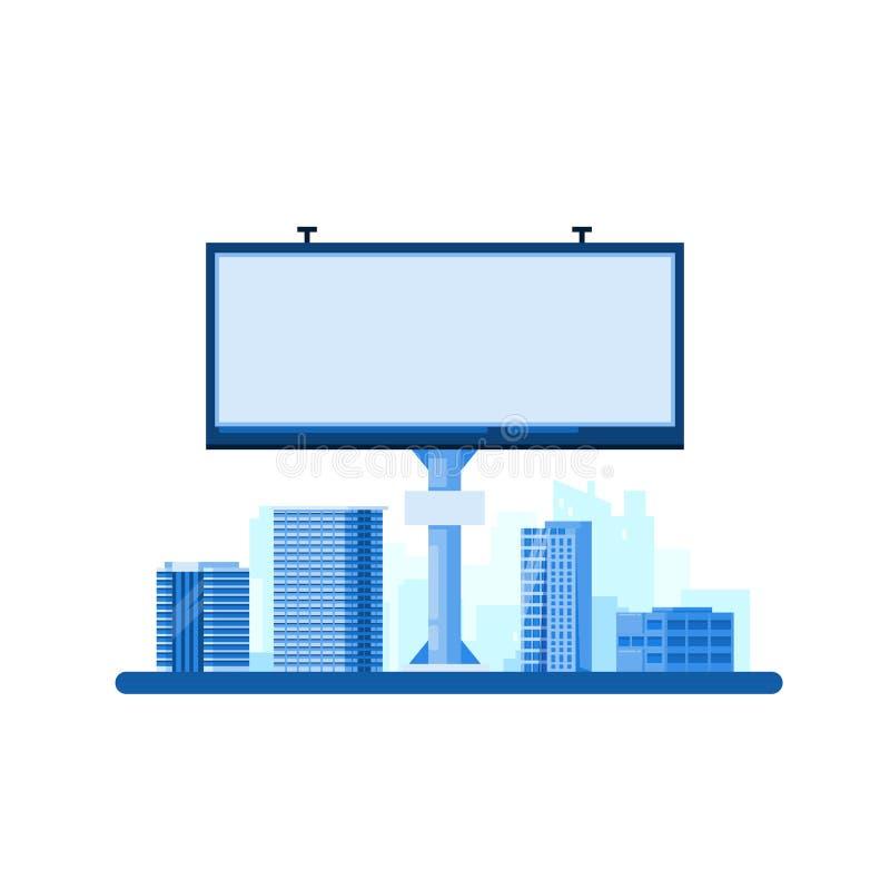 Conceito da propaganda da rua Quadro de avisos vazio branco no fundo da arquitetura da cidade Ilustração lisa do vetor ilustração do vetor