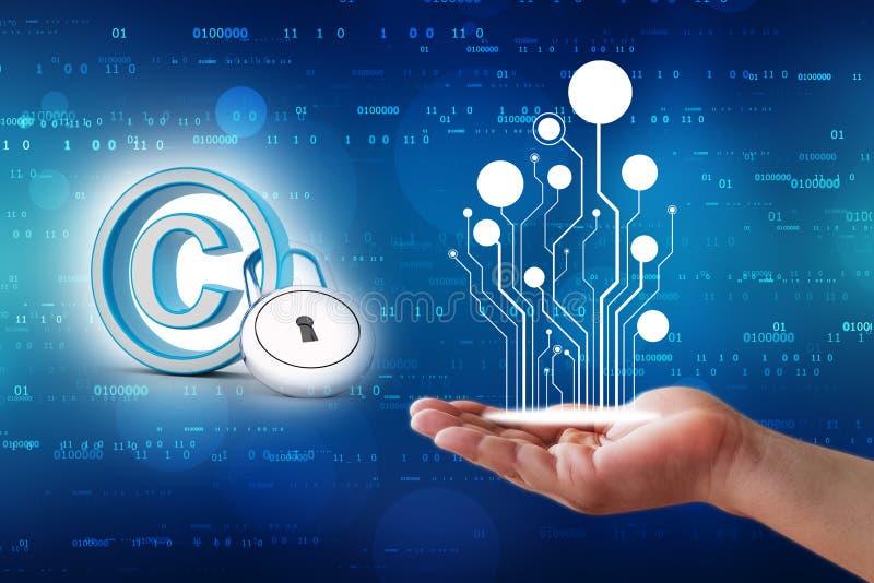 Conceito da proteção de Copyright 3d rendem fotos de stock royalty free