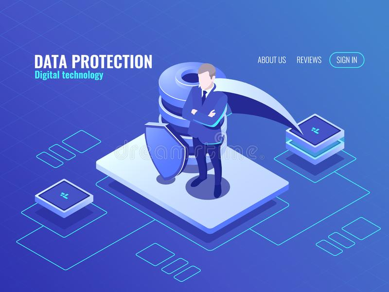 Conceito da proteção de dados, homem no super-herói do casaco, ícone isométrico do banco de dados, protetor protegido, Internet s ilustração stock