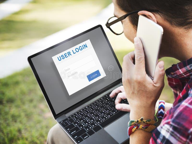 Conceito da proteção de privacidade da segurança do início de uma sessão do usuário imagens de stock