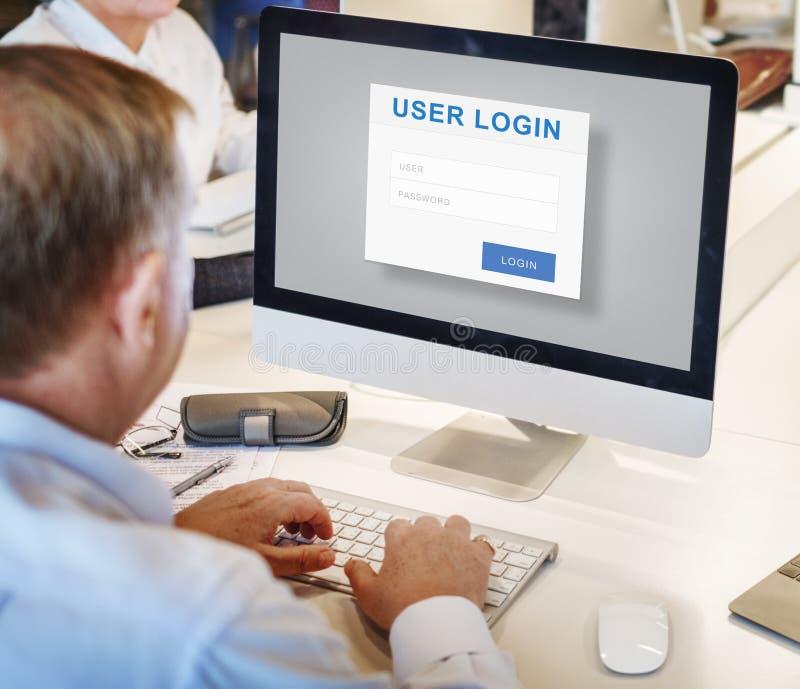 Conceito da proteção de privacidade da segurança do início de uma sessão do usuário fotografia de stock