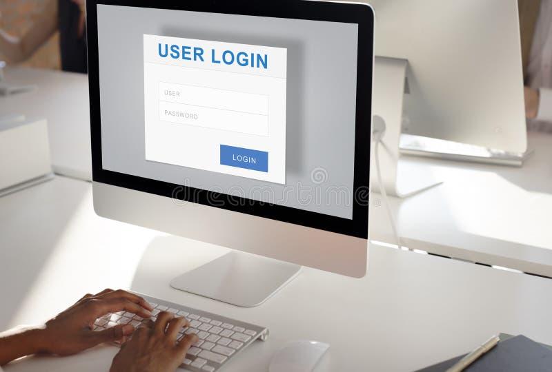 Conceito da proteção de privacidade da segurança do início de uma sessão do usuário imagem de stock royalty free