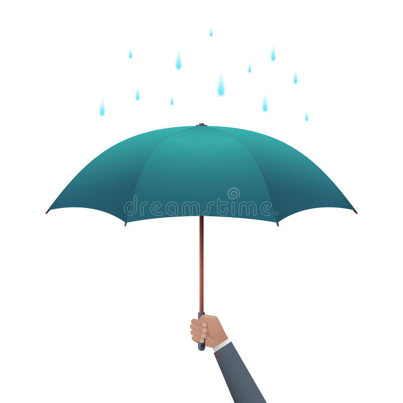 Conceito da proteção do negócio Mão do homem de negócios que guarda o guarda-chuva sob a chuva do gotejamento ilustração stock