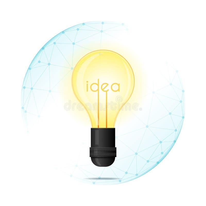 Conceito da proteção da propriedade intelectual com a ideia da ampola protegida no protetor poligonal da esfera ilustração stock