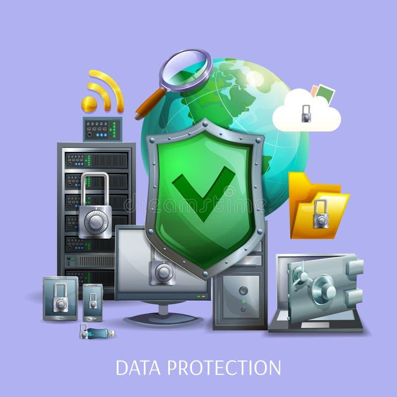 Conceito da protecção de dados ilustração royalty free