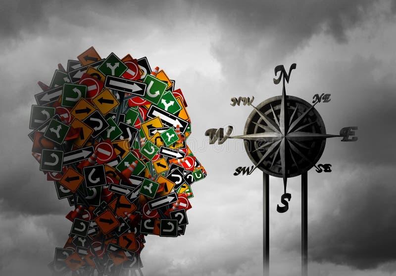 Conceito da psicologia do compasso da vida ilustração stock