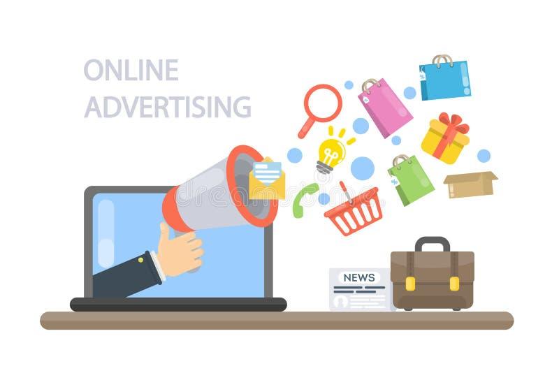 Conceito da publicidade online ilustração do vetor