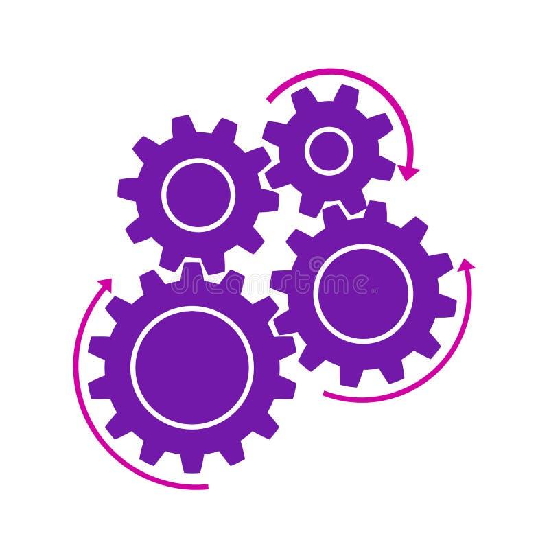 Conceito da realização, maquinismo de relojoaria, trabalhos de equipa - vetor ilustração royalty free