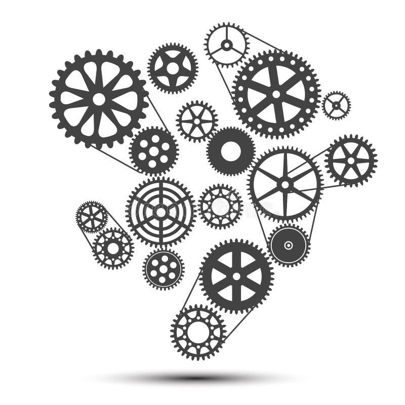 Conceito da realização, maquinismo de relojoaria - vetor ilustração stock