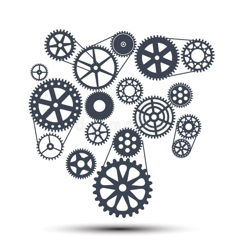 Conceito da realização, maquinismo de relojoaria - vetor ilustração royalty free