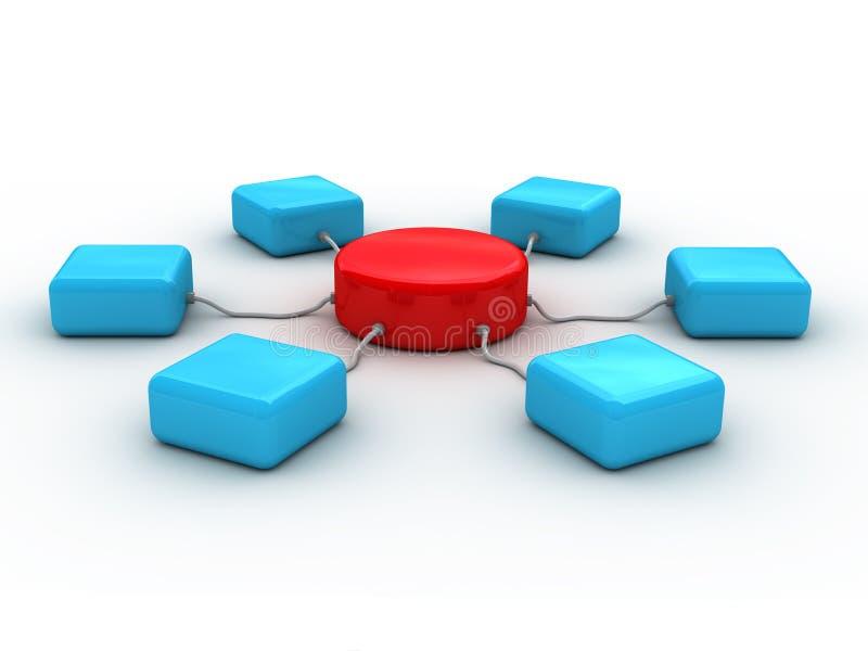 conceito da rede 3d (é apresentado a cor vermelha e azul)