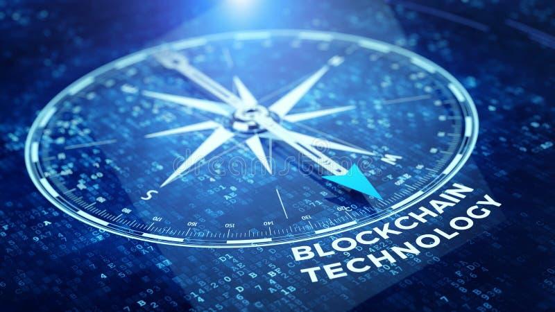 Conceito da rede da corrente de bloco - circunde a agulha que aponta a palavra da tecnologia de Blockchain ilustração royalty free